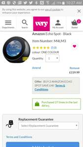 Echo spot, 2 for £160 at Very.co.uk if new customer you get 20 % off first order.