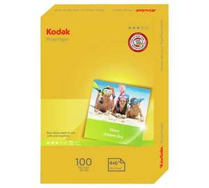 Kodak Photo Glossy A6 180 GSM Paper - 100 Pack + Free click and collect or £3.95 delivered at Argos