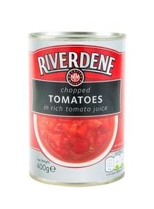 RIVERDENE CHOPPED TOMATOES IN JUICE 4 tins for £1 (or 29p each) at Heron Foods (plus other bargains)