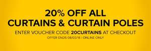 20% off all curtains and curtain poles w/ code @ B&Qs