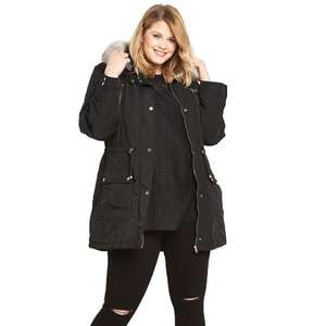V By Very Metallic Faux Fur Trim Parka £21.44 Including Delivery - Code W30CJ 30% off Coats/Jackets @ Bargain Crazy
