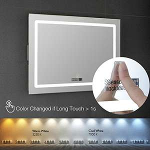 Bathroom Illuminated Mirror with Demister Device Warm & Cold LED Light Adjustable - Shaver Socket - Touch Switch - Wall Mount - 600 x 450mm was £219.99  now £119.99 + Free del - Sold and Fulfilled by Holando via Amazon