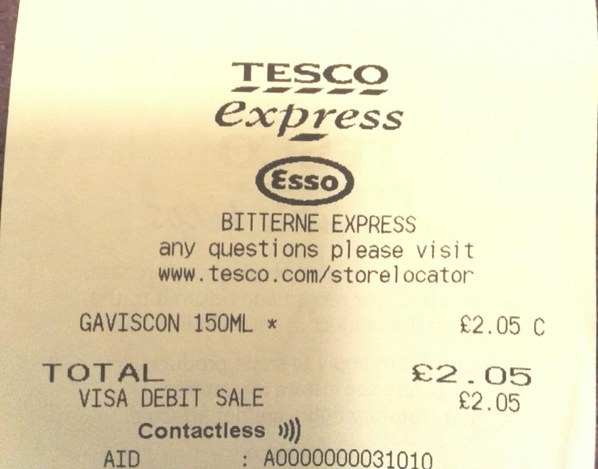 Gaviscon liquid - Tesco Southampton - £2.05