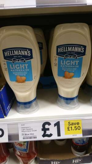 Hellmanns 430ml squeezy mayo light and normal instore and online @ tesco - £1
