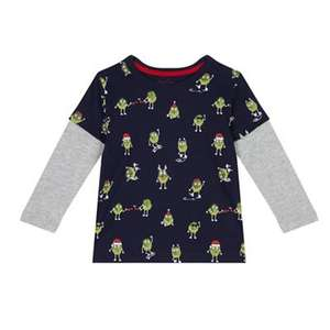 Bluezoo - Boys' navy Christmas sprout print mock top - £2.40 - £2.70 + Free Delivery with code SH4Z at Debenhams