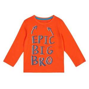 Bluezoo - Boys' orange 'Epic big bro' print t-shirt - Ages 12-18 months left) + Free Delivery with code SH4Z at Debenhams £2.50