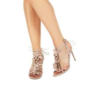 Faith - Light pink leather 'Fab' high stiletto heel ankle strap sandals + Free Delivery with code SH4Z at Debenhams - £23.70