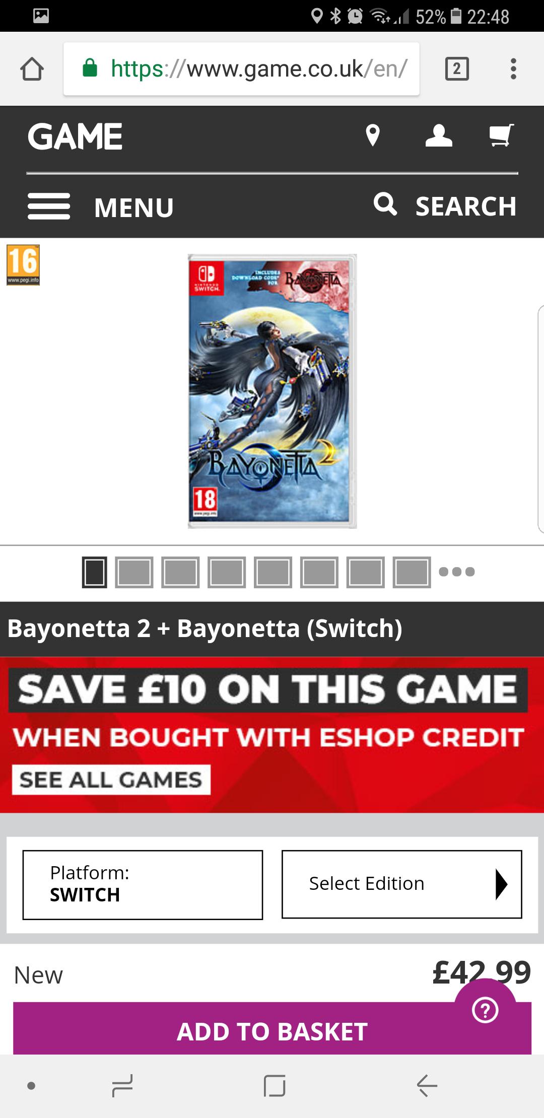 Bayonetta 2 + Bayonetta (switch) Credit Deal £32.99 at GAME (using Nintendo Store Credit = £15.00)