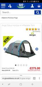 Go outdoors airgo solus horizon 4 air tent £275