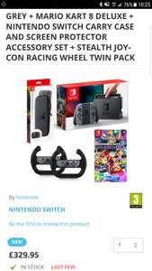 Nintendo switch bundle with mario kart and accessories - £329.95 @ TGC