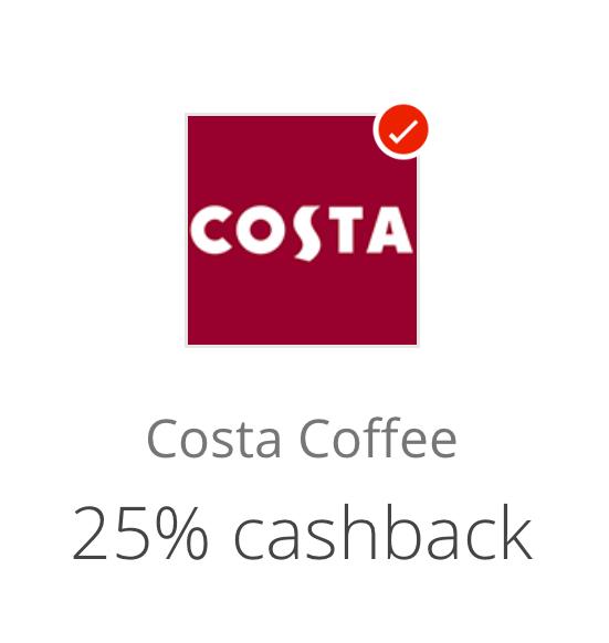 25% CashBack at Costa via Santander Retailer Offers