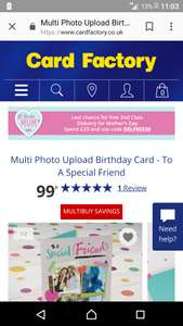 Multi photo upload birthday card starting from 99p - del from 55p @ card factory