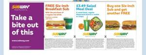 Free breakfast Sub with purchase of drink and more @ Subway  in today's Metro