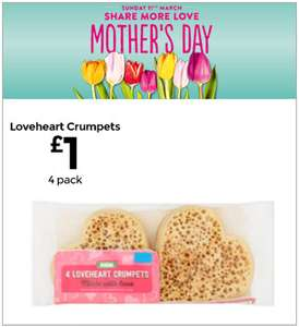 4x Loveheart Crumpets @ Asda [Mother's Day] £1