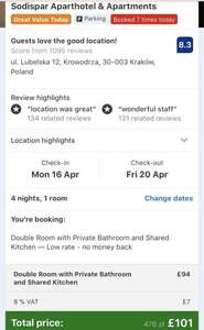 4 nights in Krakow for £96pp (£193 total) including flights and apartment @ Booking.com