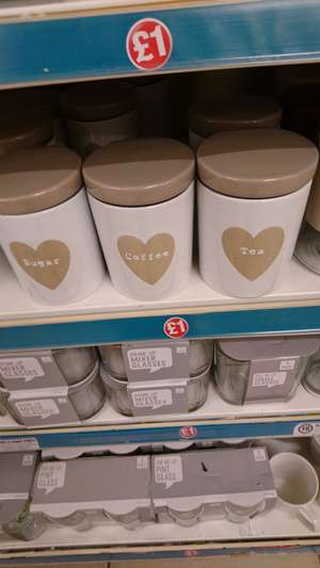 Tea coffee and sugar canisters £1 @ poundland