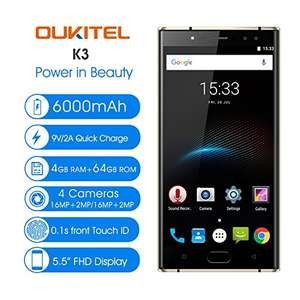 "Lightning Deal on Oukitel K3 in Black 5.5"" HD - 6000mAh battery - £130.89 @ Sold by delicacyOZdex and Fulfilled by Amazon"