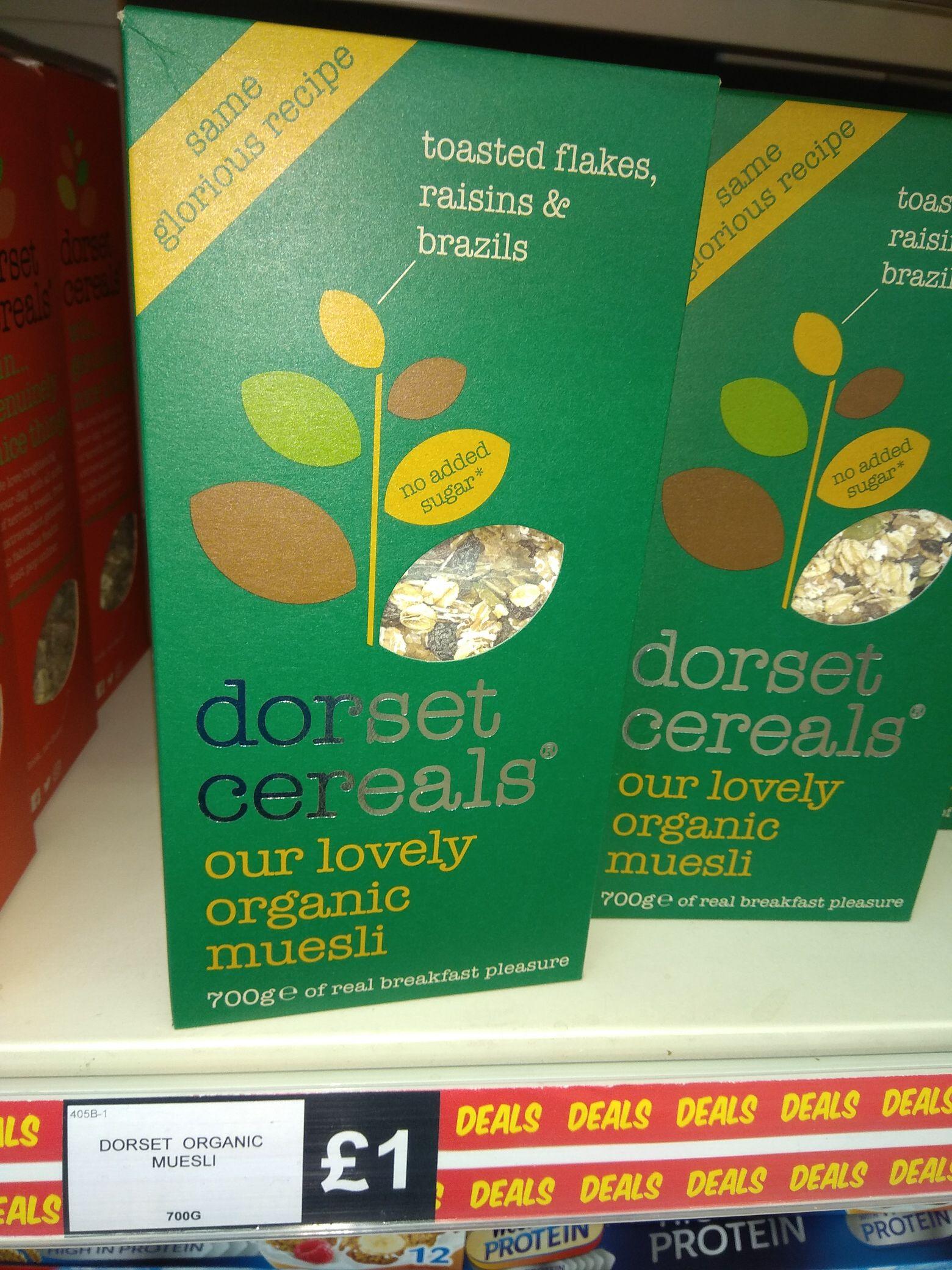 Dorset Cereals Organic Muesli (no added sugar) 700g - £1 @ Fulton Foods