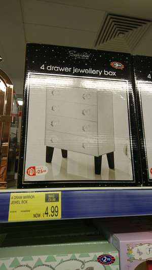 4 drawer mirror jewellery box half price @ b&m