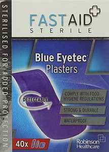 Fast Aid Sterile Blue Eyetec Plasters - Pack of 80 £1.47 amazon add on item minimum 20 pound spend required