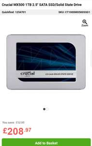 "UPDATE! FURTHER PRICE REDUCTION!: Crucial MX500 1TB 2.5"" SATA SSD/Solid State Drive - cheapest £208.97 @ LaptopsDrect"