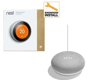 NEST Learning 3rd generation Thermostat and Installation & Home Mini Bundle £279.21 at Currys