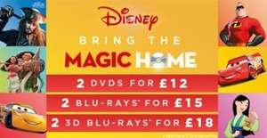 Disney 2 for £12 DVDs 2 for £15 Blu-ray & 2 for £18 3D Blu-ray at HMV