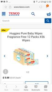 Huggies Pure Baby Wipes Fragrance Free 12 Packs X56 Wipes was £10.50 now £5 at Tesco
