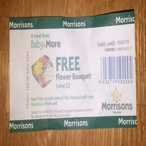 Free £2 Flowers with Morrisons Baby & More + Free Pink Gerbera flower on Mothers Day @ Morrisons