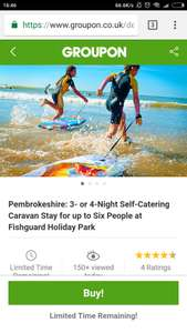 3 Night Caravan Stay for up to 6 People Pembrokeshire Fishguard Holiday Park @ Groupon £67.15 Total