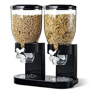 Double Plastic Classic Dry Food Cereal Dispenser Double Canister, White Transparent (Black) £11.97 delivered Dispatched from and sold by Denny Shop @ Amazon