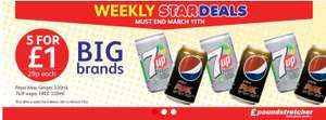5 cans of 7 up sugar free or Pepsi max ginger 330ml £1 @ Poundstretcher