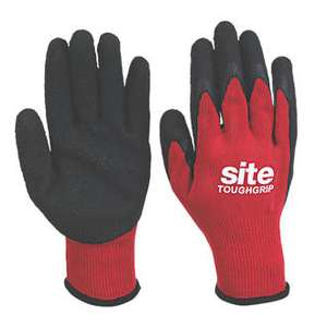SITE TOUGHGRIP BUILDERS GLOVES RED / BLACK LARGE £1.99 @ Screwfix