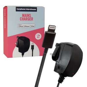 Carphone Warehouse Mains Charger Lightning for Apple iPhone 5, 6, 6+, 7, 8 MFi Approved 1.2m Cable £4.99 delivered 7Dayshop
