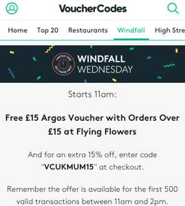 Windfall Wednesday Free £15 Argos Voucher with Orders over £15 @ FlyingFlowers Vouchercodes