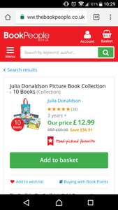 Julia Donaldson Picture Book Collection includes Gruffalo series, Room on the Broom - Paperback £12.99 / £15.94 delivered @ The book people