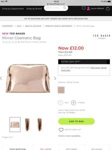 Ted Baker Rose Gold Cosmetic Bag Was £30 Now £11.60 Click and Collect at House of Fraser Online (£10.64 with unidays)