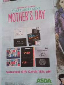 15% Off selected Gift Cards Instore @ Asda