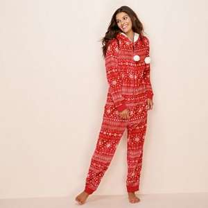 Lounge & Sleep - Red Fair Isle print fleece onesie (Size 8 left) £10.50 At Debenhams