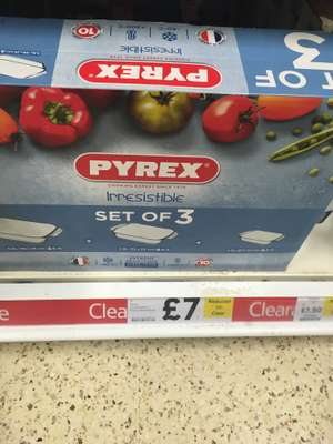 "Pyrex ""Irresistable"" Range: Set of 3 £7- from Tesco"