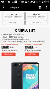 OnePlus 5t -£350.64 for 6gb/64gb & £416.38 for 8gb/128gb at  Ali Express / FANTACY TECHNOLOGY