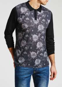 Mens Floral Long Sleeve Polo Shirt £7 + Free click and collect at Matalan