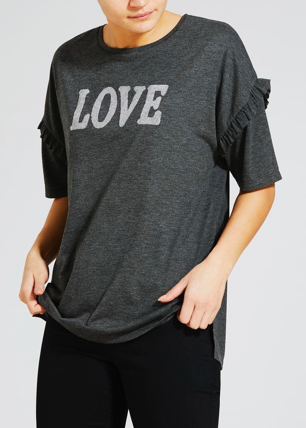 Womens Frill Love Slogan T-Shirt  £4.50 + Free click and collect at Matalan