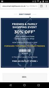 Ralph Lauren Polo extra 30% off extended