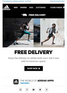 Free delivery on all orders @ Adidas