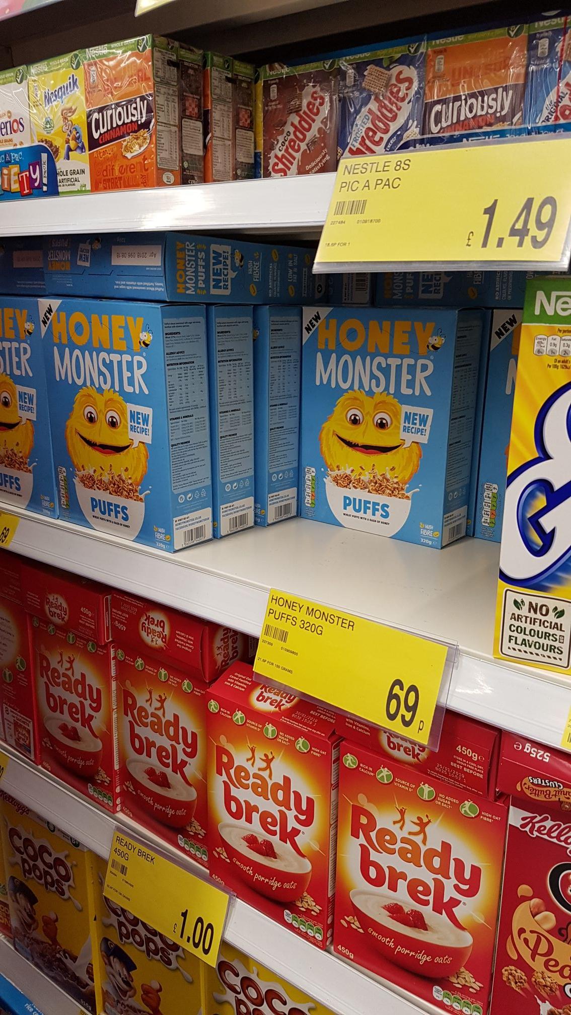 Honey Monster Cereal 320g @ B&M - 69p