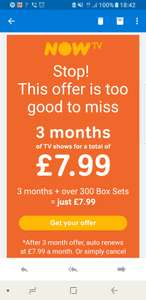 Now Tv 3 Months Entertainment £7.99 only