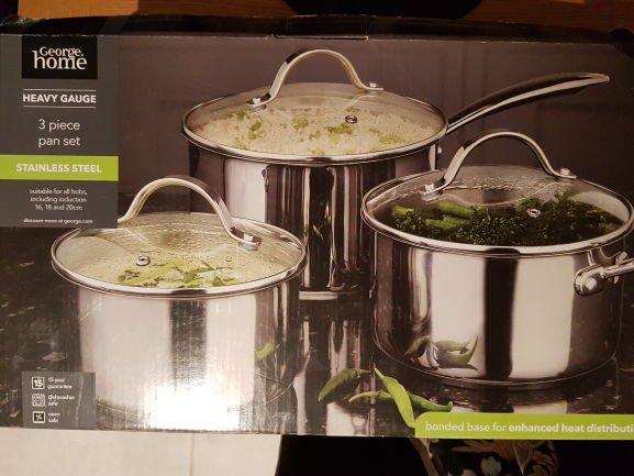 3 piece stainless steel pan set instore @ Asda