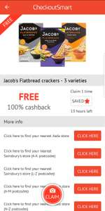 Free Jacob's Flatbread Crackers 150g £1.59 - free via CheckoutSmart App
