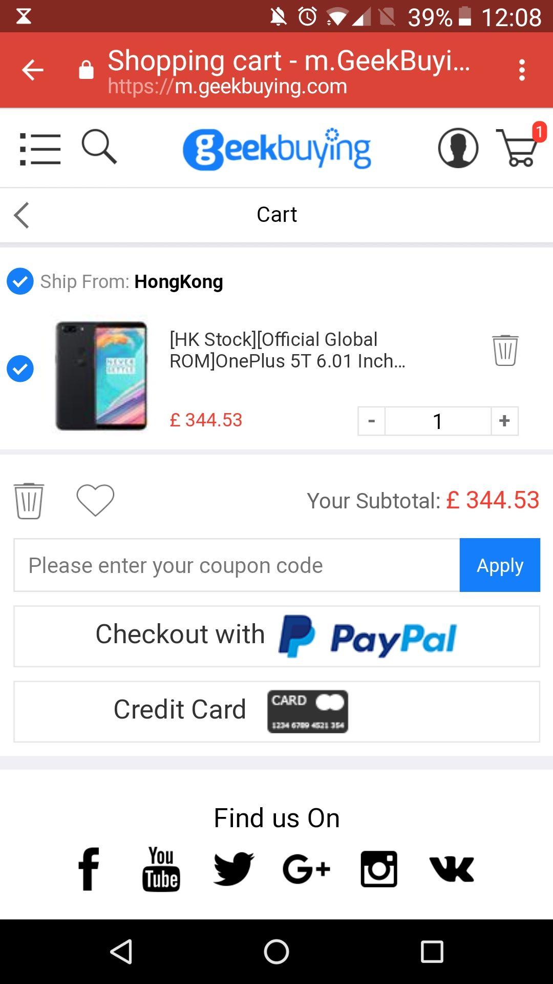 OnePlus 5T 6.01 Inch Smartphone  £352.02 @ Geekbuying (HK Warehouse)